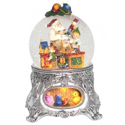 Spieldosen Schneekugel Spieluhr Glitzerkugel Santas Werkstatt 56057