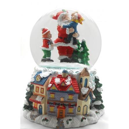 Spieluhr Schneekugel Santa mit Kindern