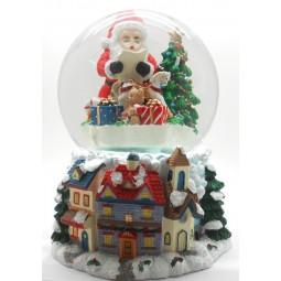 Schneekugel Spieluhr Glitzerkugel Santas Werkstatt 56057 Spieldosen
