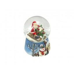 Blaue Schneekugel Santa auf dem Schlitten