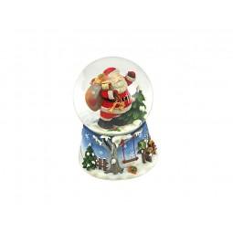Schneekugel blau Santa mit Sack
