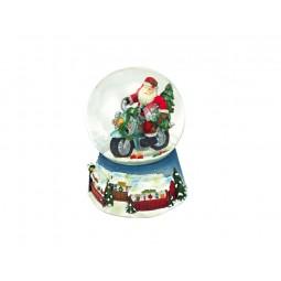 Blaue Schneekugel Santa auf dem Motorrad